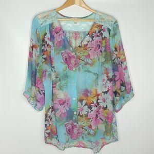 Dress Barn sheer flowery Blouse SIZE Large